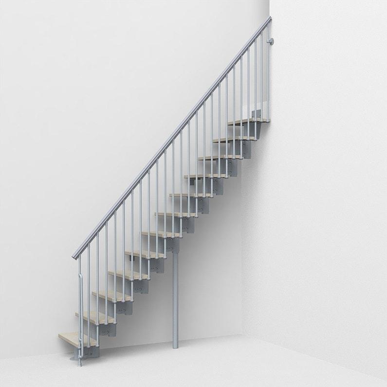 Escalier Droit Strong 2 Structure Acier Gris Clair Marche En Bois