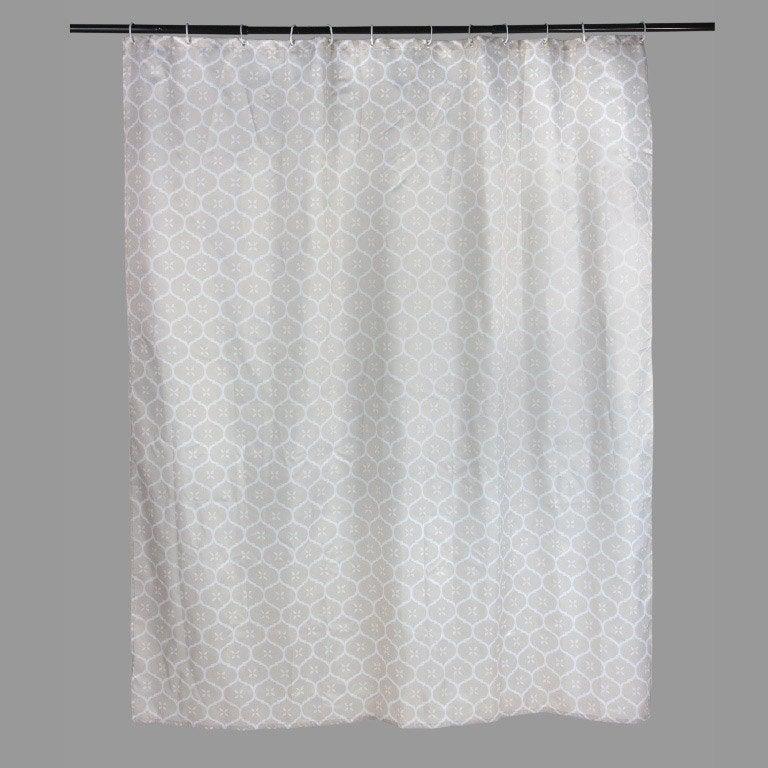 Rideau de douche en textile gris doré n°6 l.180 x H.200 cm, Romantic SENSEA