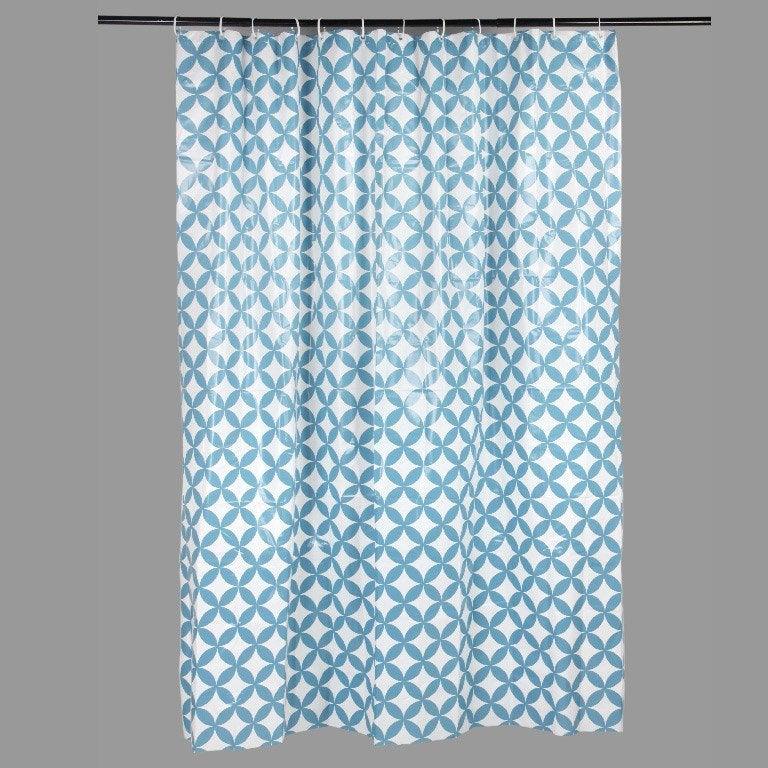 Rideau de douche en plastique bleu baltique n°3 l.180 x H.200 cm, Corolle SENSEA