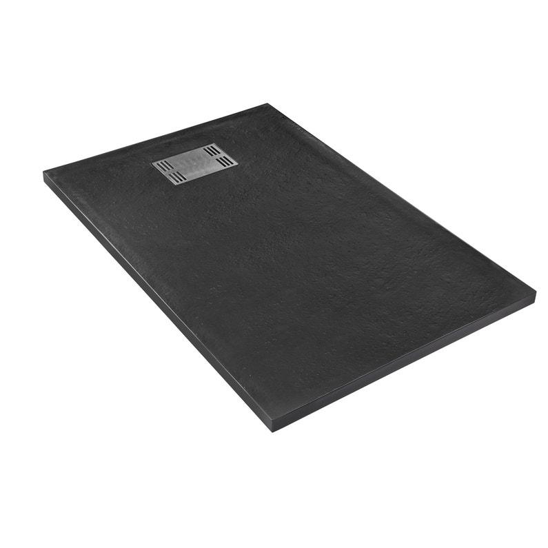 Receveur De Douche Rectangulaire L 120 X L 80 Cm Resine Noir Slate