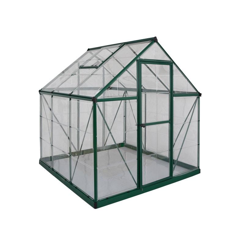 Serre de jardin verte HARMONY 3.4 m², aluminium et polycarbonate, PALRAM