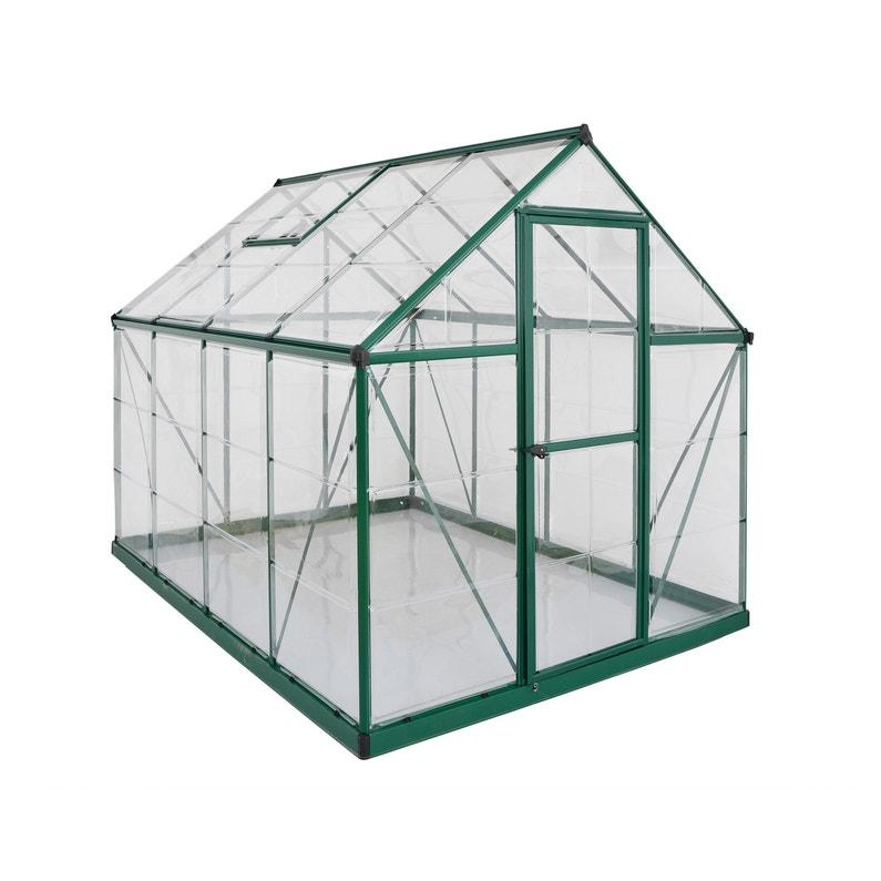 Serre de jardin verte HARMONY 4.5 m², aluminium et polycarbonate, PALRAM