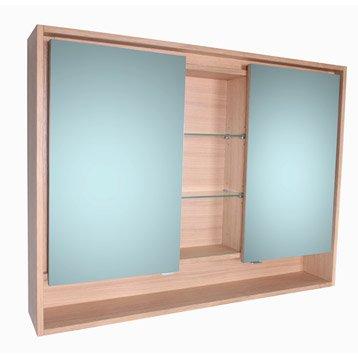 Armoire de toilette lumineuse l. 120 cm, imitation chêne, SENSEA Storm