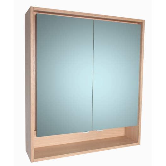 armoire de toilette lumineuse l 80 cm imitation ch ne. Black Bedroom Furniture Sets. Home Design Ideas