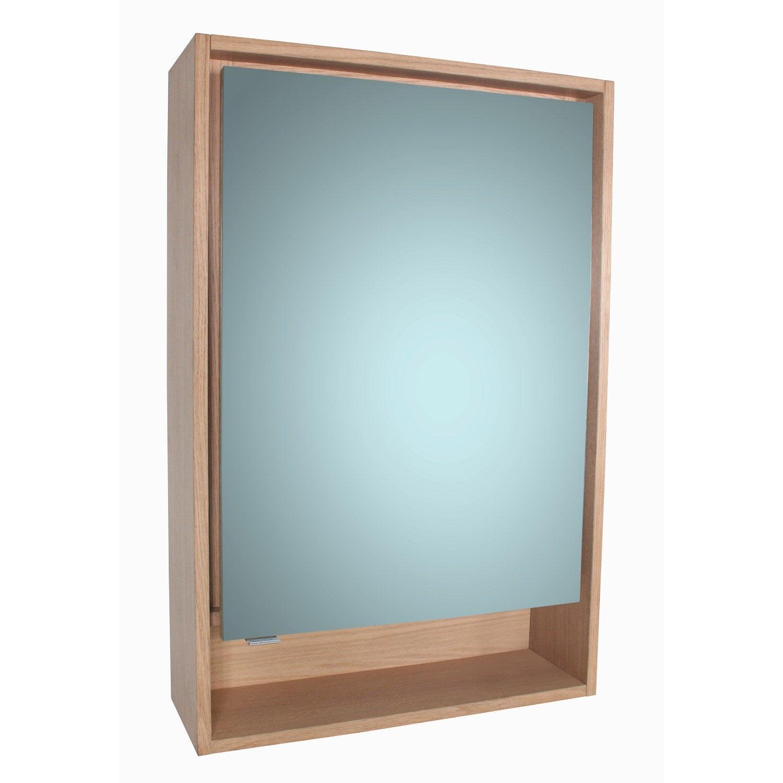 Armoire de toilette lumineuse l. 60 cm imitation chêne, SENSEA Storm ...