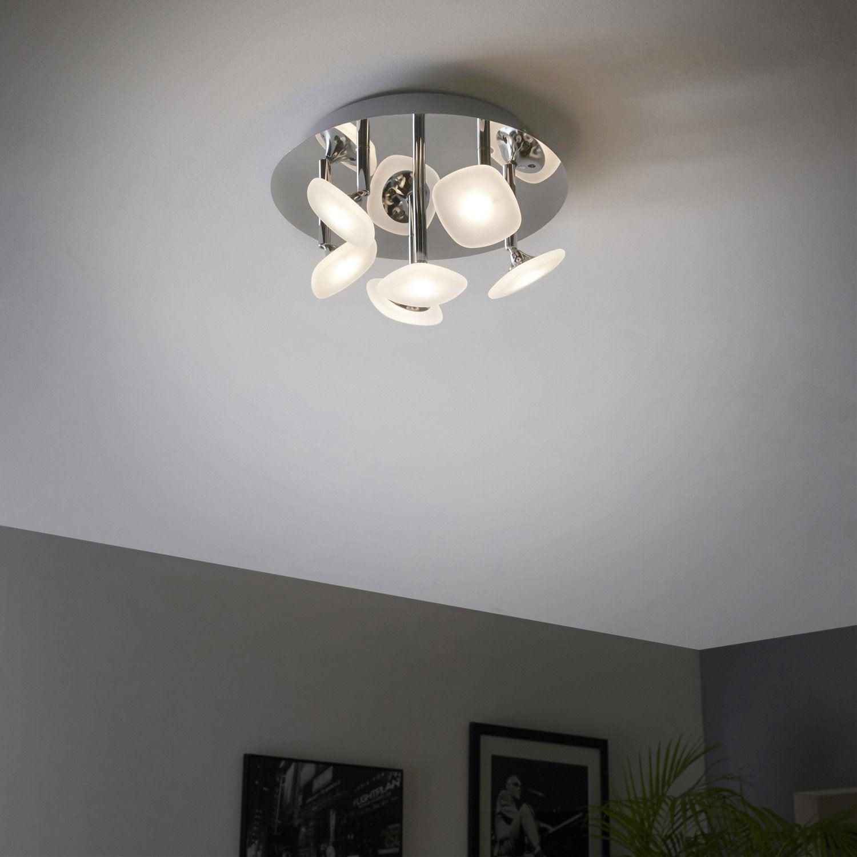 plafonnier design led int gr e umbrella m tal chrome 6 x. Black Bedroom Furniture Sets. Home Design Ideas