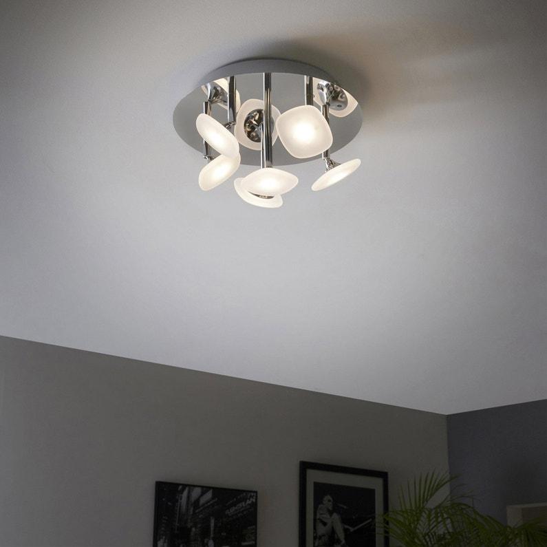 Plafonnier Design Led Intégrée Umbrella Métal Chrome 6 X 6x5 W Inspire