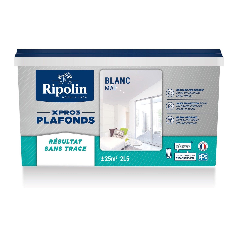 Peinture Blanche Plafond Xpro3 Sans Traces RIPOLIN, Mat 2.5 L