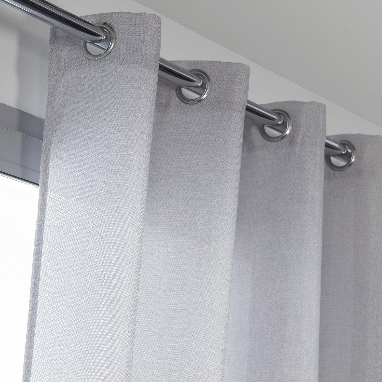Rideau tamisant, Copenhague, gris galet n°5, l.140 x H.250 cm