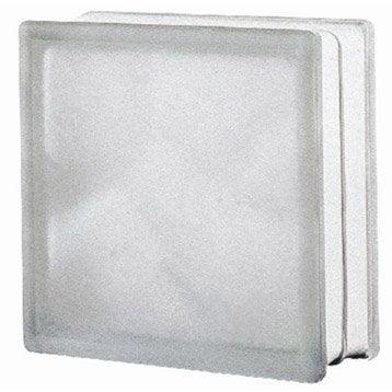 Brique de verre, transparent ondulé satiné