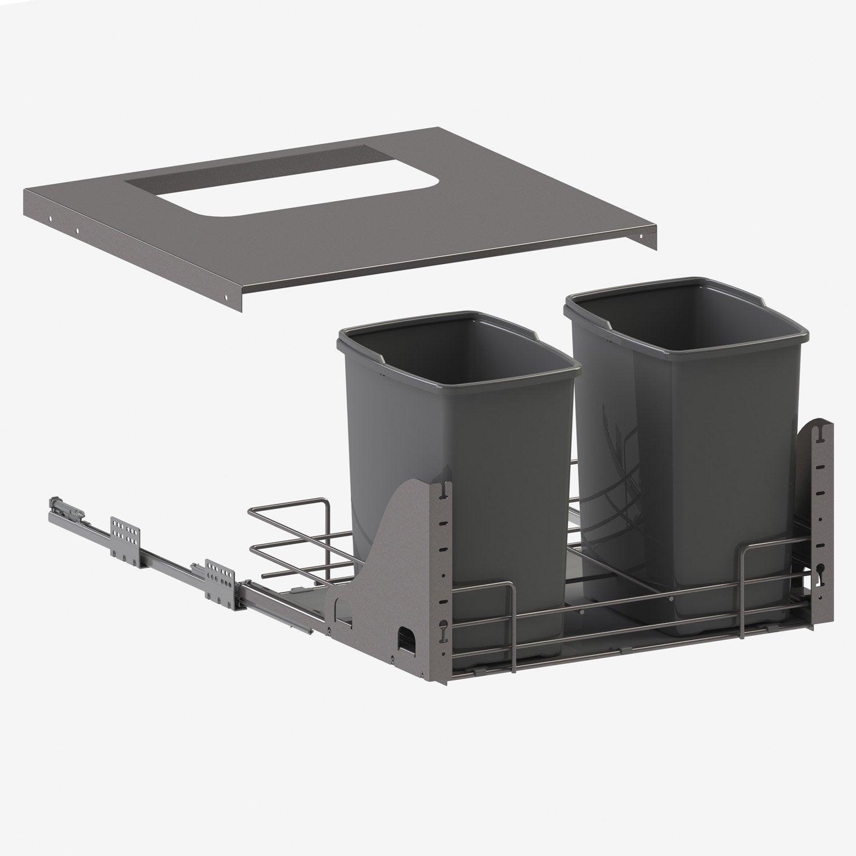 rangement coulissant sous vier 2 poubelles pour meuble l. Black Bedroom Furniture Sets. Home Design Ideas