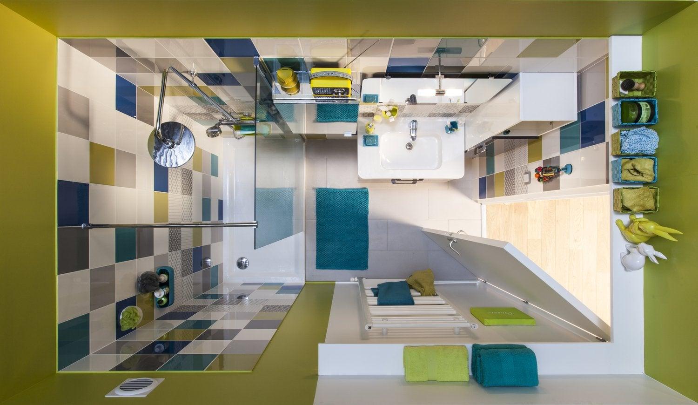 Superior Salle De Bain Colore #12: Petite Salle De Bains Colorée