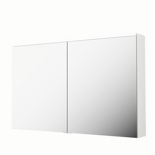 armoire de toilette lumineuse l 120 cm blanc sensea neo leroy merlin. Black Bedroom Furniture Sets. Home Design Ideas
