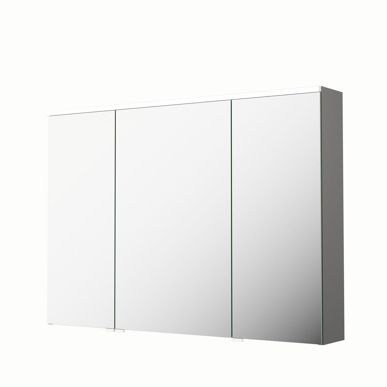 armoire de toilette lumineuse l 105 cm gris sensea neo leroy merlin. Black Bedroom Furniture Sets. Home Design Ideas