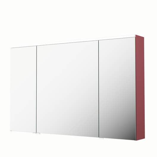 armoire de toilette lumineuse l 120 cm rouge sensea neo leroy merlin. Black Bedroom Furniture Sets. Home Design Ideas