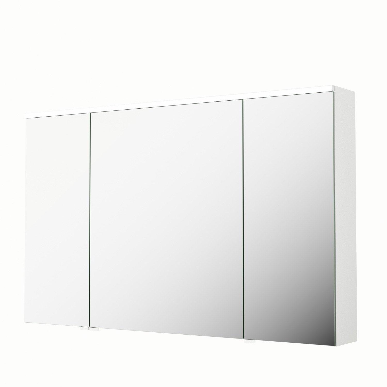 Armoire de toilette lumineuse l 120 cm blanc sensea neo leroy merlin - Armoire de toilette lumineuse ...