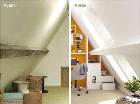 avant apr s transformez vos petits combles en bureau leroy merlin. Black Bedroom Furniture Sets. Home Design Ideas