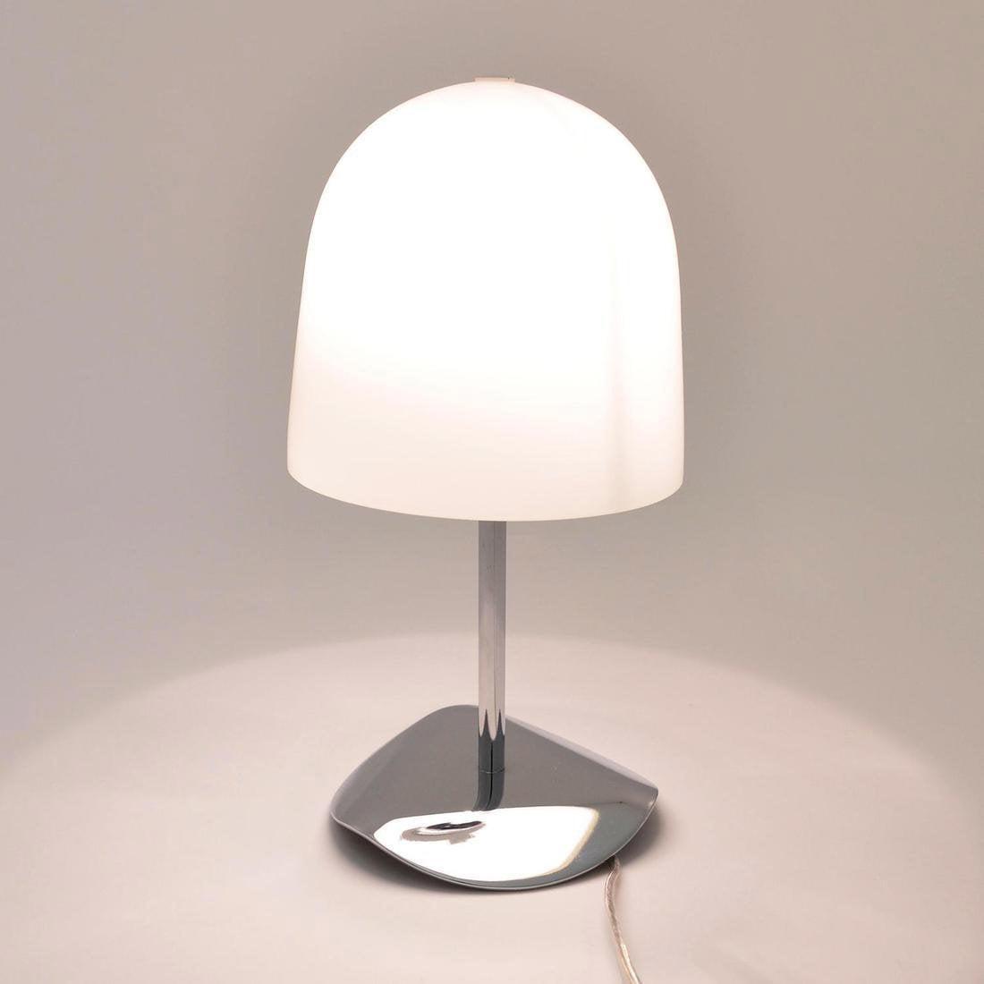 Lampe, design, verre blanc et chromé, LO EDITIONS Shiny