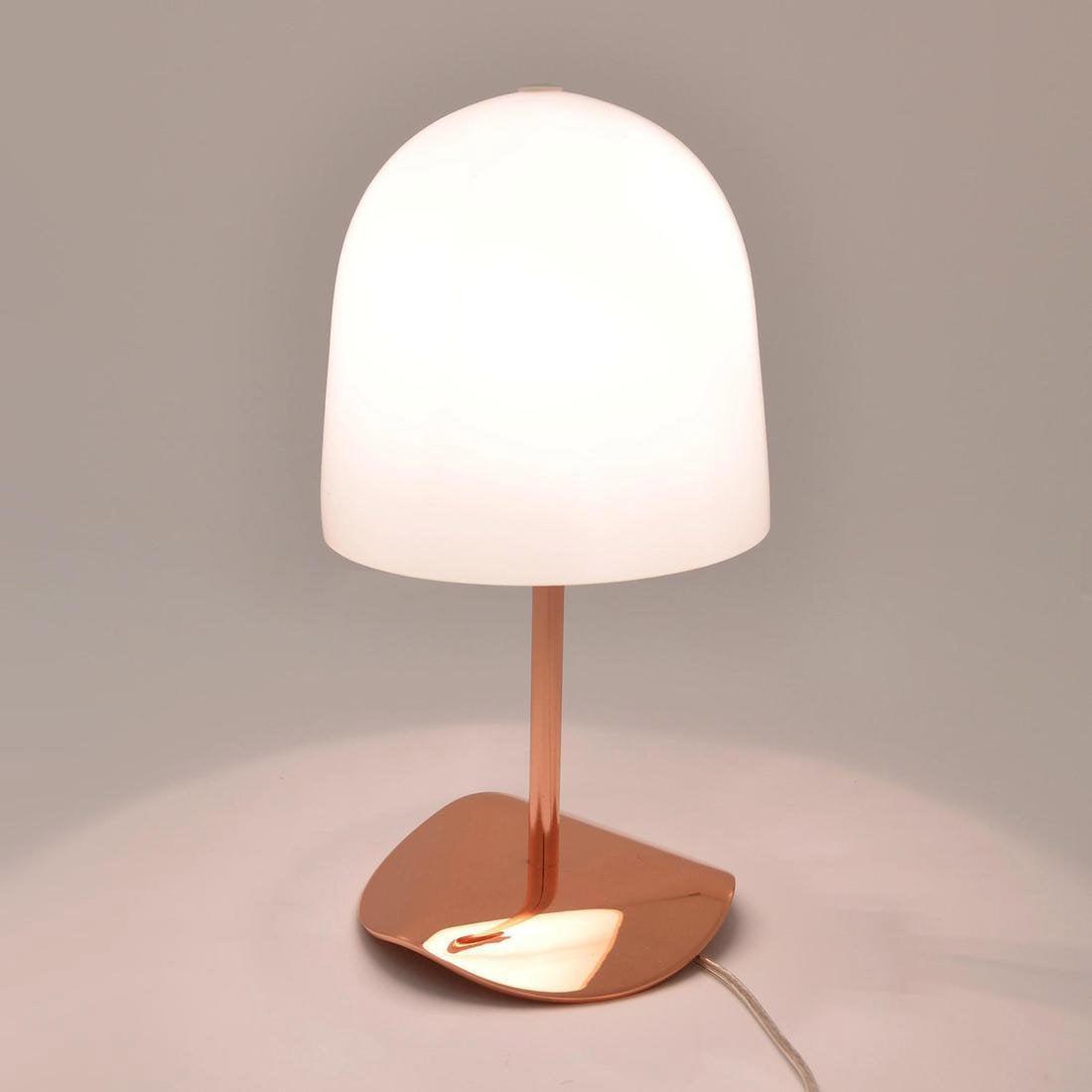 Lampe, design, verre blanc et cuivré Shiny