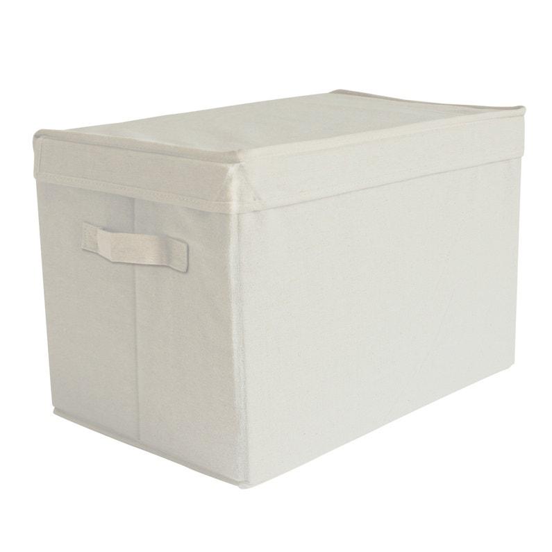 arrive bb872 02abd Boîte de rangement avec couvercle tissu M beige H.27 x l.40 x P.27 cm