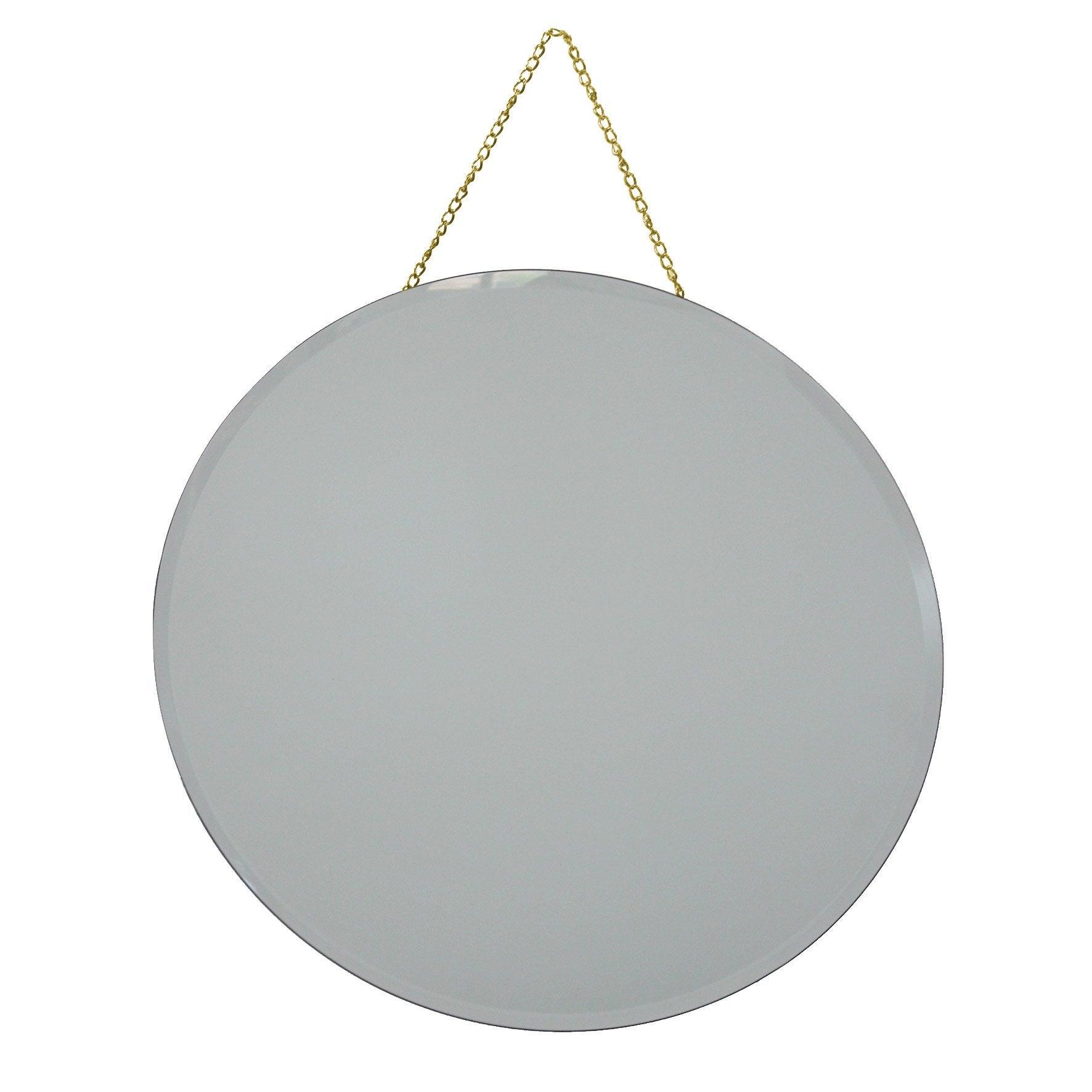 Miroir à suspendre l.30 x H.30 cm, Diam.30 cm, dore Elya