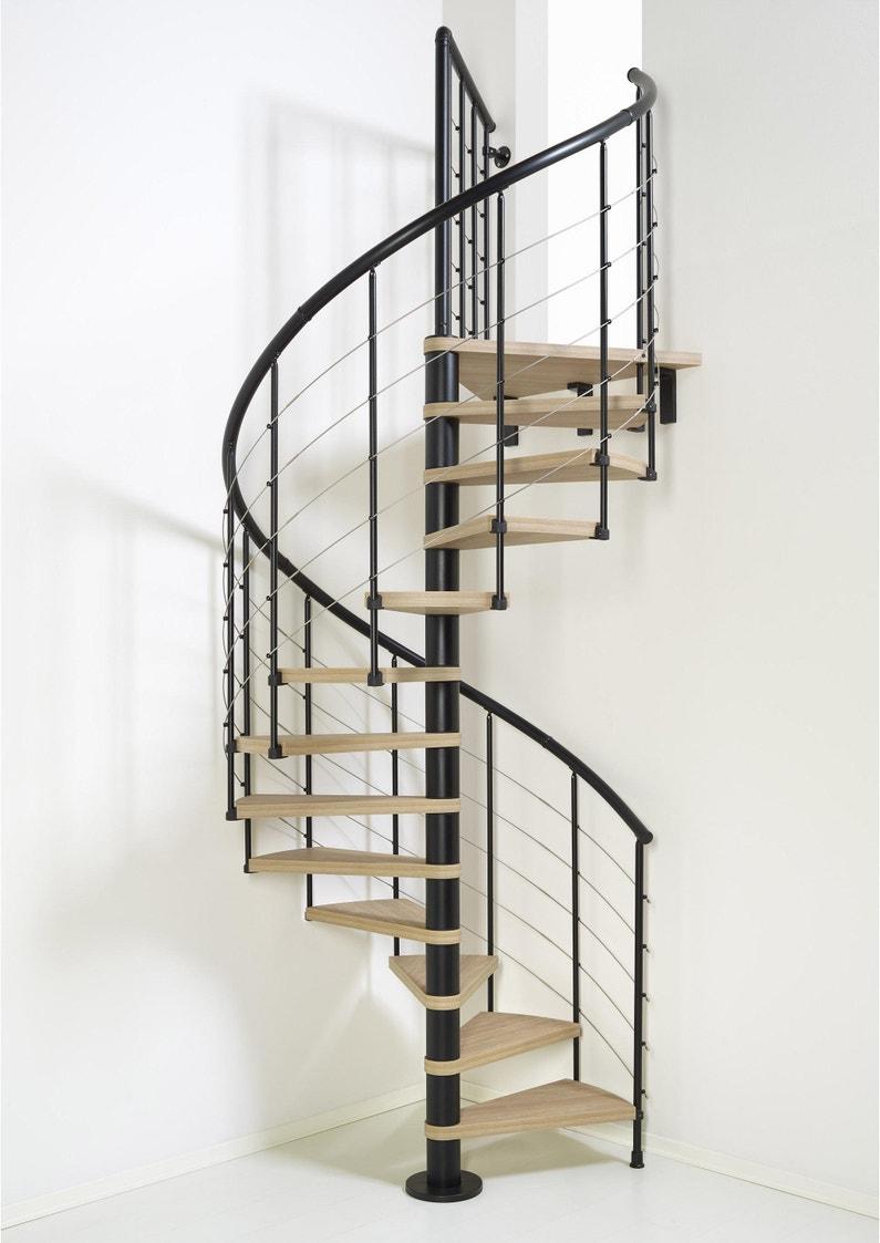 Escalier Colimaçon Rond Révers Acier Noir Ring Tube 12 Mar Orme Clair 128 Cm