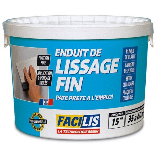 enduit de lissage facilis, 15 kg | leroy merlin