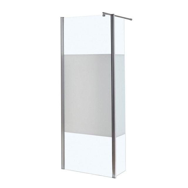 une paroi de douche avec une bande en verre d poli pour. Black Bedroom Furniture Sets. Home Design Ideas