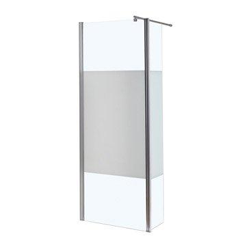 Paroi de douche à l'italienne, l.80 + 30 cm verre sérigraphié 6 mm Open 2 6mm