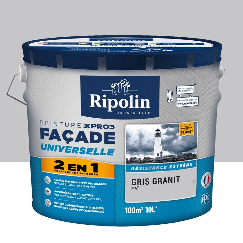 Peinture Façade 2en1 Xpro3 Ripolin Gris Granit 10 L