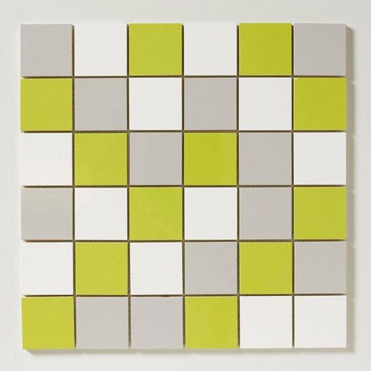 Mosa que mur astuce mix vert blanc et gris leroy merlin - Mur gris et blanc ...