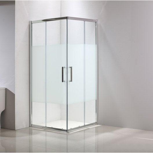 Porte de douche angle carr cm x cm - Accessoire douche leroy merlin ...