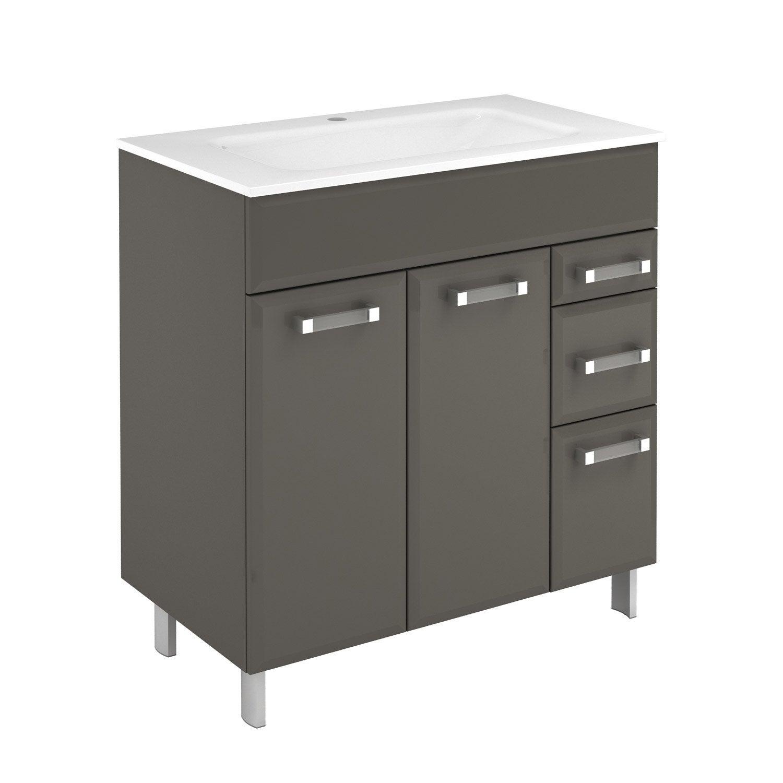 meuble vasque 81 cm gris opale leroy merlin. Black Bedroom Furniture Sets. Home Design Ideas