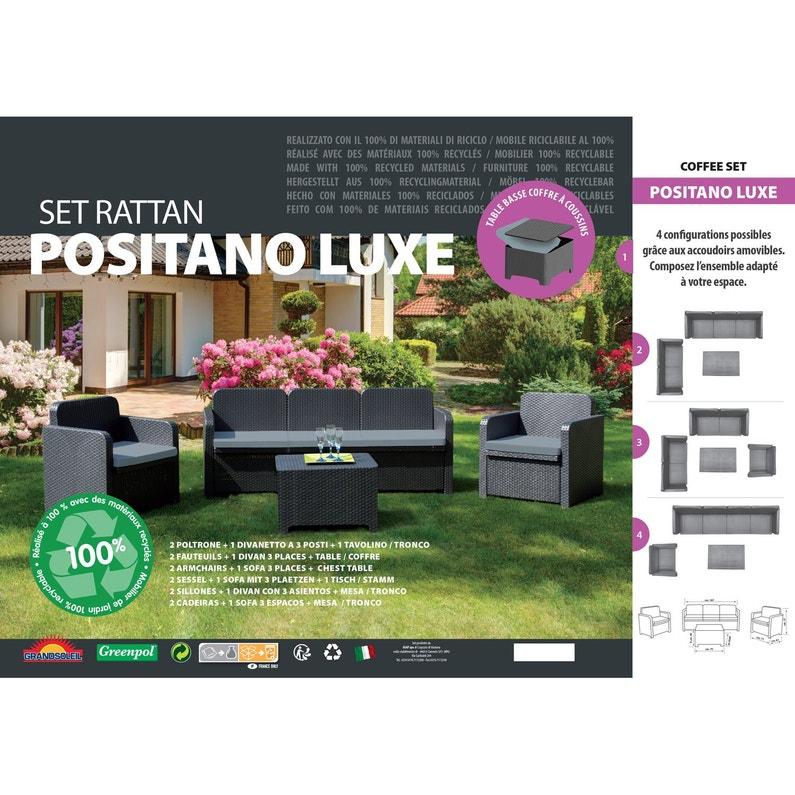 Salon bas de jardin Positano résine injectée anthracite, 5 personnes ...