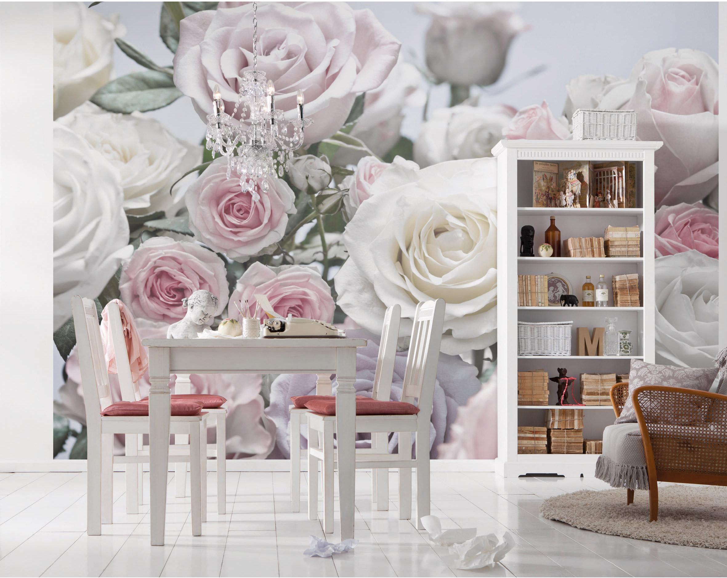 Papier peint panoramique Floraison rose pâle papier KOMAR l.254 x H.368 cm