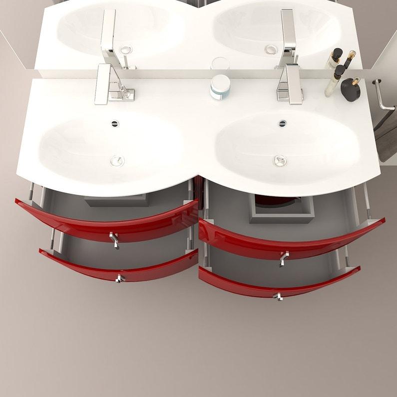 Meuble Double Vasque L138 X H55 Rouge Brillant Sting