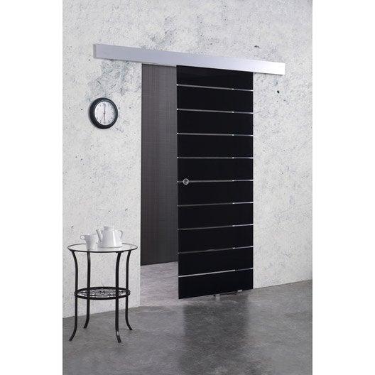 Porte coulissante verre tremp floride artens 204 x 83 cm leroy merlin - Porte coulissante noire ...
