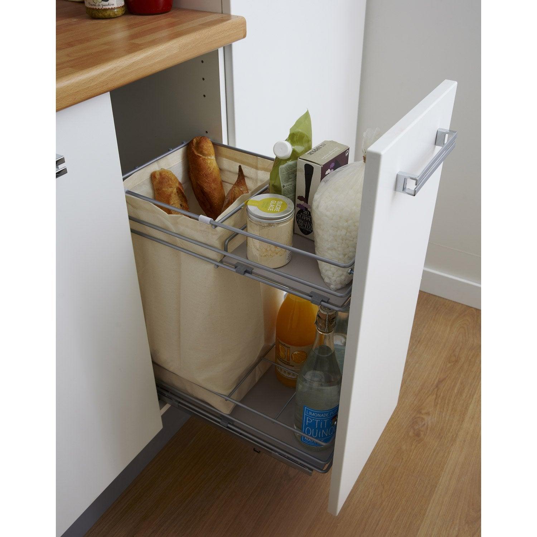 Rangement coulissant pain et bouteilles pour meuble for Rangement coulissant pour meuble bas