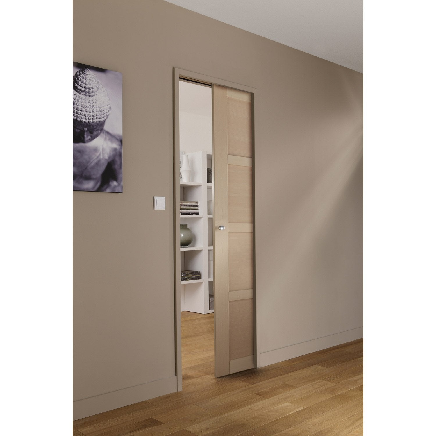 ensemble porte coulissante nova h tre avec le galandage artens 3 en aluminium leroy merlin. Black Bedroom Furniture Sets. Home Design Ideas