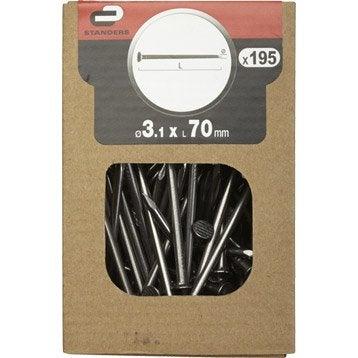 Clous spécial béton Acier, STANDERS tête plate, Diam.3.1 x L.70 mm