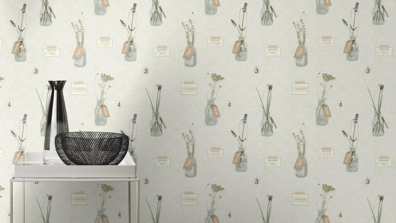 Un style nature avec un papier peint blanc avec motifs d - Papier peint motif arbres ...