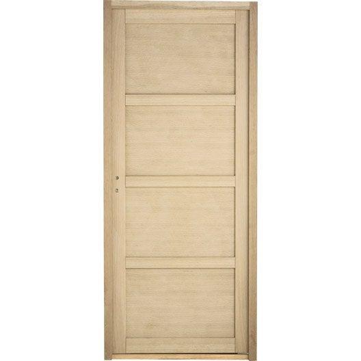 Bloc porte paris pleine poussant droit 4 panneaux bois - Pose de porte interieur ...