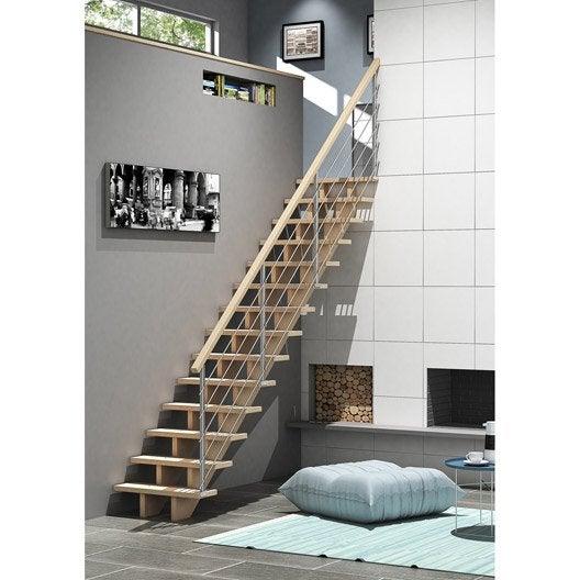 Escalier droit allure tube structure bois marche bois leroy merlin - Escalier gain de place leroy merlin ...