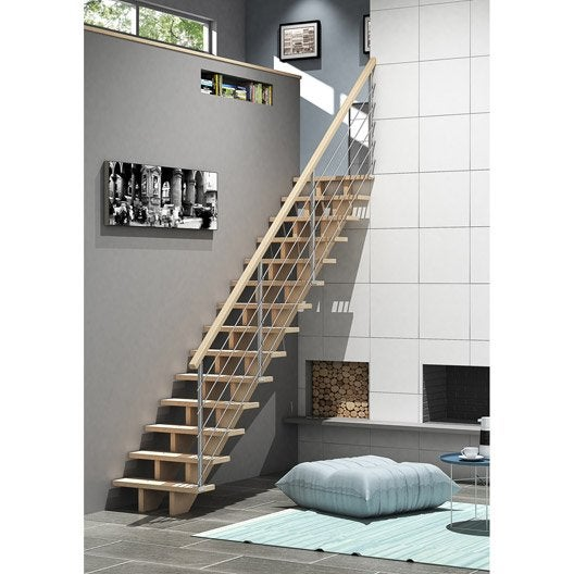 Escalier quart tournant bas droit allure tube structure bois marche bois le - Escalier 2 quart tournant leroy merlin ...