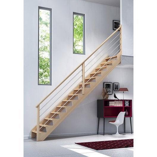 Escalier droit biaiz tube structure bois marche bois - Escalier helicoidal leroy merlin ...