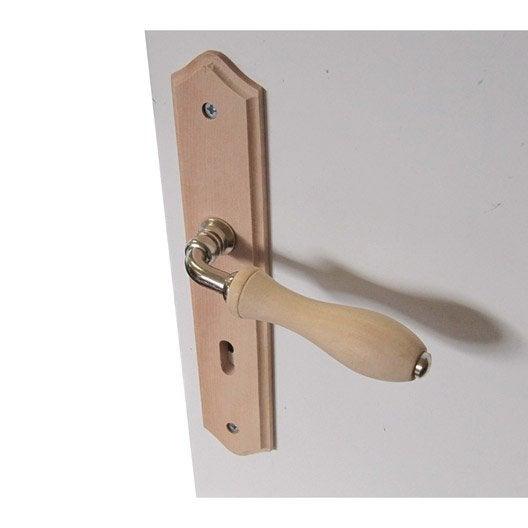 2 poign es de porte bois trou de cl bois 195 mm leroy for Poignee de porte bois