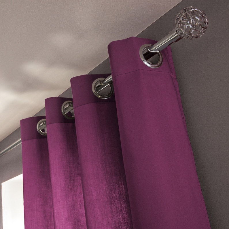 Rideau tamisant, Roma, violet figue n°3, l.140 x H.240 cm INSPIRE ...