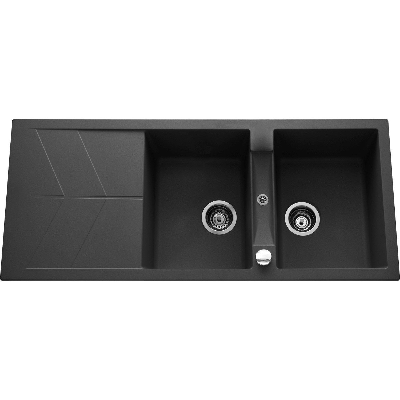 evier encastrer quartz et r sine noir calypso 2 bacs avec gouttoir leroy merlin. Black Bedroom Furniture Sets. Home Design Ideas