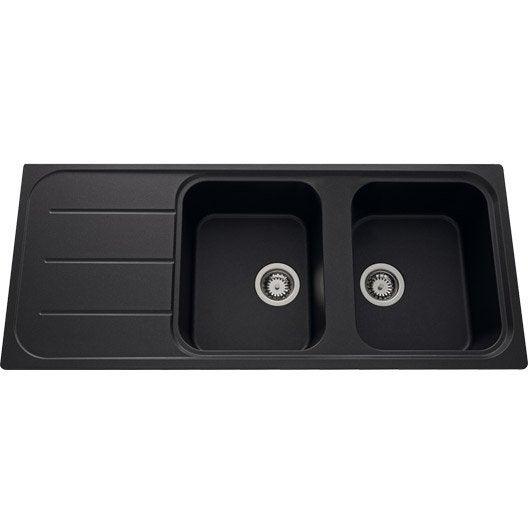 Evier encastrer quartz et r sine noir fugie 2 bacs avec for Evier cuisine resine noir 2 bacs