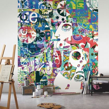 Papier Peint Big Eye Multicolore Intisse Street Art Leroy Merlin